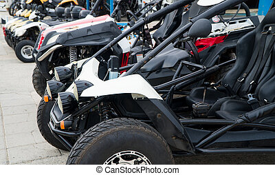 Off Road buggy on the street. Car rentals.