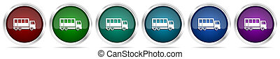 Off road bus, combination truck icons, set of silver metallic glossy web buttons in 6 color options isolated on white background