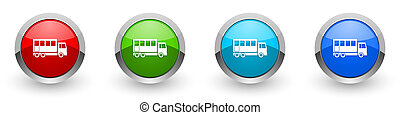 Off road bus silver metallic glossy icons, combination truck concept set of modern design buttons for web, internet and mobile applications in four colors options isolated on white background