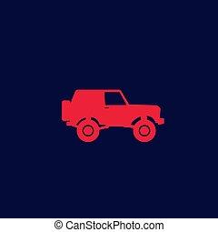 off-road car, 4wd suv vector icon