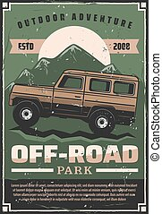 Off-road car adventure travel club retro poster