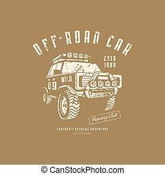 Off-road car emblem with rough texture for t-shirt