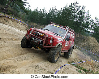 Off-road car in action