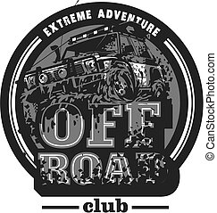 Off-road car logo, mud terrain suv, expedition offroader.