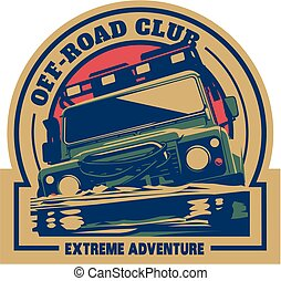 Off-road car logo, safari suv, expedition offroader. Vector...