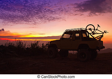 Off Road Car On The Mountain Silhouette shot