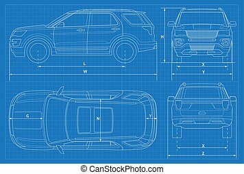 Front car silhouette detail a front of car silhouette design off road car schematic or suv car blueprint vector illustration off road vehicle malvernweather Gallery