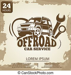 Off-road car service vintage poster design