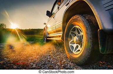 Off-road car travel