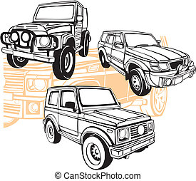 Off-Road Cars - Vector set. Vinyl-Ready.