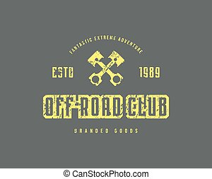 Off-road club emblem with rough texture for t-shirt