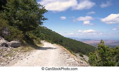 Off road drive top of mountain POV. Moncayo Sierra...