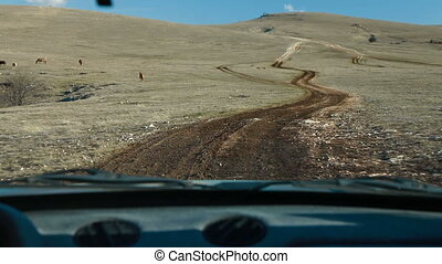 Off Road Driving Through Mountain