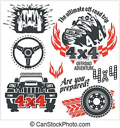 Off roading - elements and emblem with 4x4 vehicle off-road car - vector set