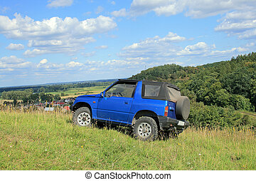 Off-road excursion - Off-road. 4x4 jeep at the top of a hill...