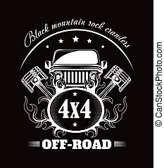 Off-road extreme car or auto driver club vector poster -...