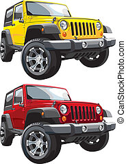 off-road jeep - Detailed vectorial image of american jeep,...