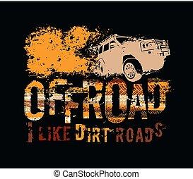 off-road, letras, neumático