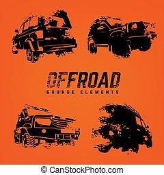 Off-road logo elements set