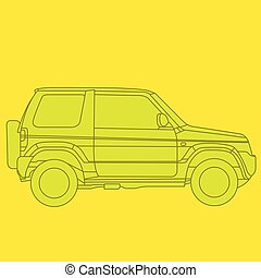 Off-road mini SUV side view - outline of 4x4 car