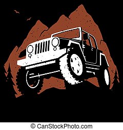 Off-Road Mountain - Illustration of off-road 4x4 vehicle on...