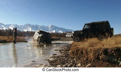 Off-road Mountain Expedition. - ALTAI, RUSSIA, - November...