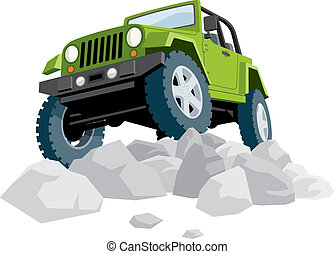 Off road vehicle over heap of stones. No transparency and gradients used.