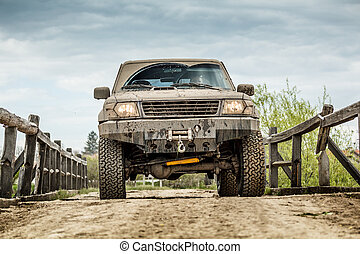 Off road on the wooden bridge