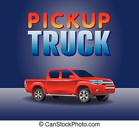 Off-road picup truck car . Image of a red pickup truck in a realistic style. Vector illustration
