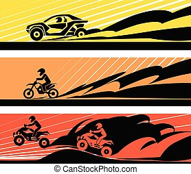 Off-road racing car and motorcycle.