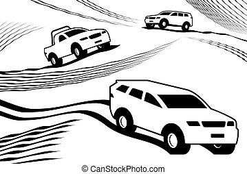 Off road safari in desert - vector illustration