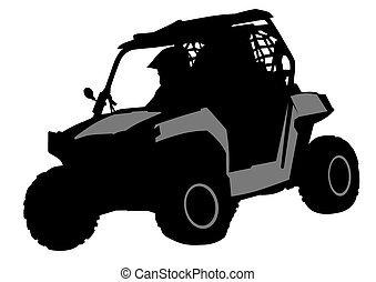 Off road - Silhouettes athletes ATV during races