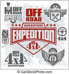 Off-road suv car emblems, badges and icons. Off-roading adventure club design elements.