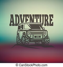off-road suv car monochrome labels, emblems, badges or logos on blurred background. Off-roading trip