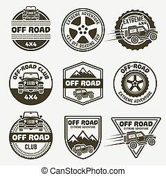 Off-road suv car set of vector monochrome emblems