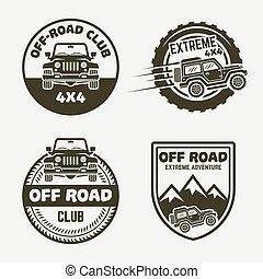 Off-road suv car vintage labels, emblems, badges