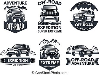 Off road symbols. Labels with 4x4 truck. Logos or labels with suv cars