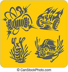 Off-Road symbols - vinyl-ready vector illustration