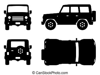 Off-road truck silhouette on white background. Vehicle icons set view from side, front, back, and top