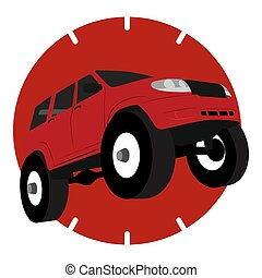 Off road vehicle car logo, vector illustration silhouette