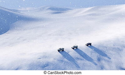 Off road vehicle in snow desert at snowstorm - Aerial view...