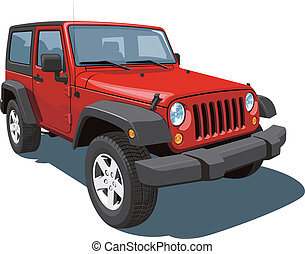 Vector isolated red off-road vehicle on white background, without gradients EPS8 format.