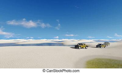 Off-road vehicles in unique Brazil desert 4K