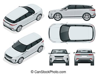 Off-road write car Modern VIP transport. Compact crossover, SUV, 5-door station wagon car. Offroad truck template vector isolated car on white View front, rear, side, top and isometry front, back