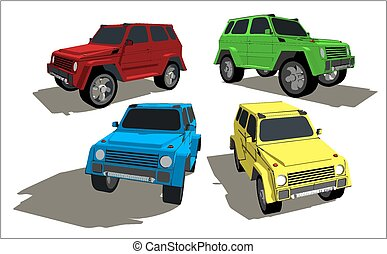 Off-roader in various colors