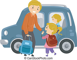 Off to School - Illustration of a Little Girl Being Escorted...