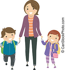 Off to School - Illustration of Kids Being Escorted by Their...