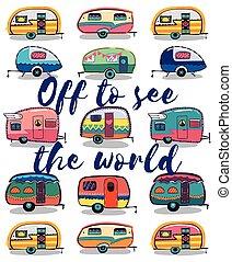 Off to see the world. Happy Camper Card - Retro Camper Fun. ...