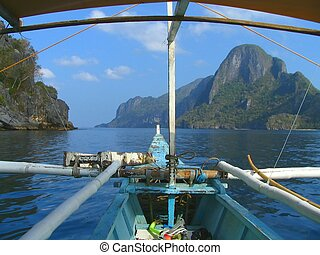 Off to snorkel - Tropical seascape with boat and snorkle...