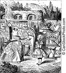 Off with her head - Alice's Adventures in Wonderland original vintage engraving